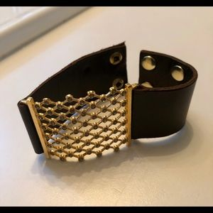 Jewelry - Brown leather bracelet, gold toned hw and stones.